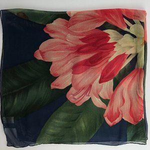 Vintage Echo Smithsonian Floral Sheer Silk Scarf
